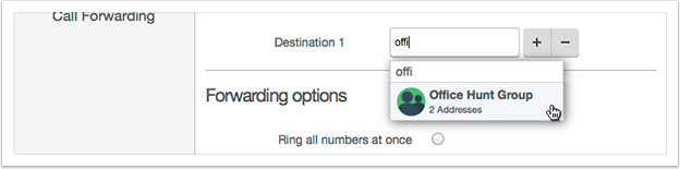 You can type the address name or group name into destination fields