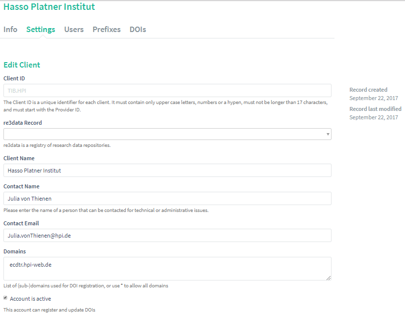 Provider Dashboard: Settings, Edit Client