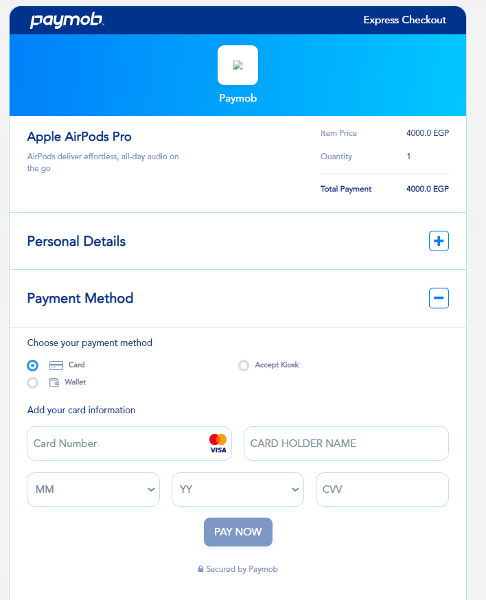 Accept dashboard - Product Pay.