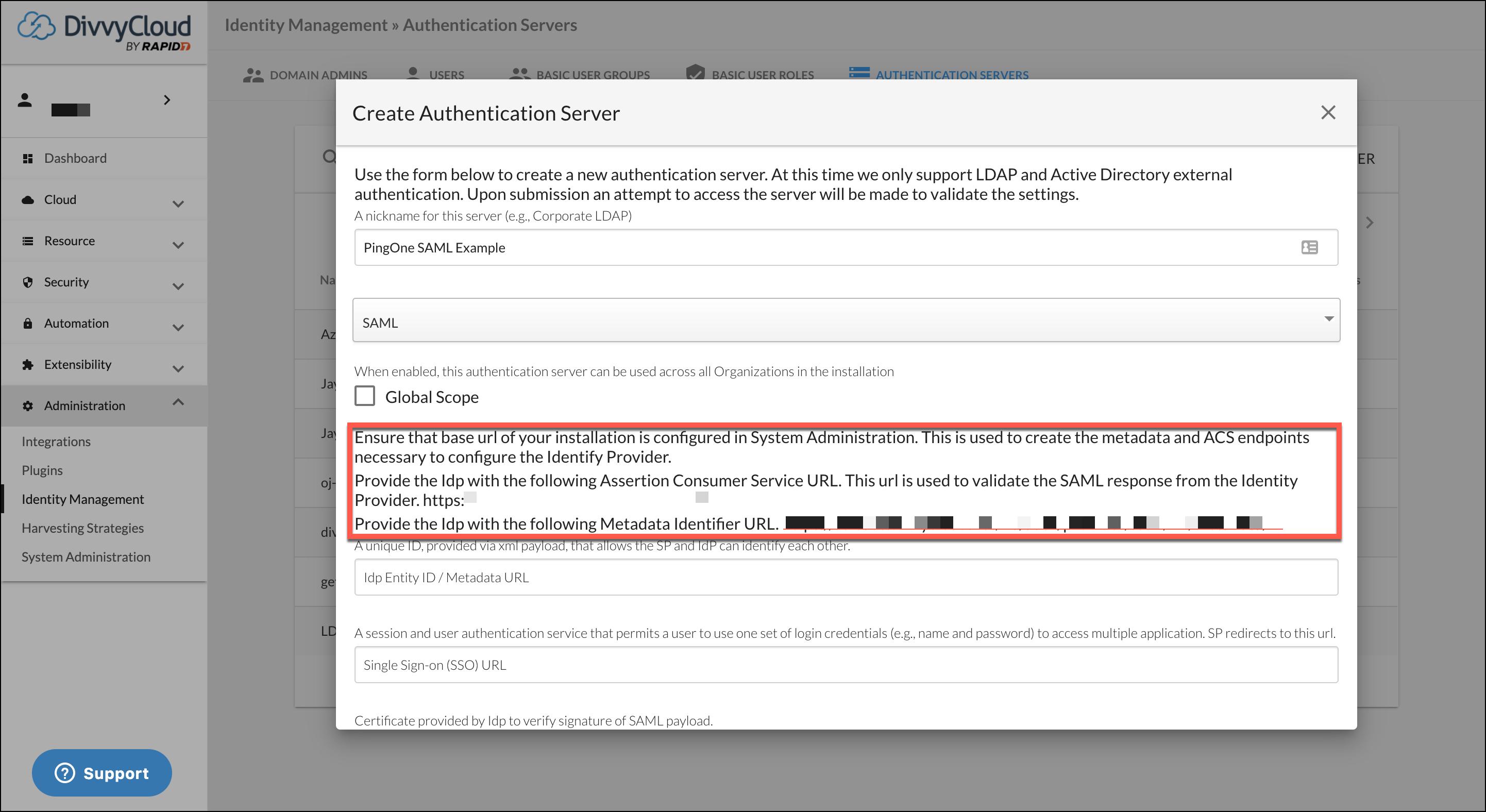 Add Authentication Server - PingOne SAML Example
