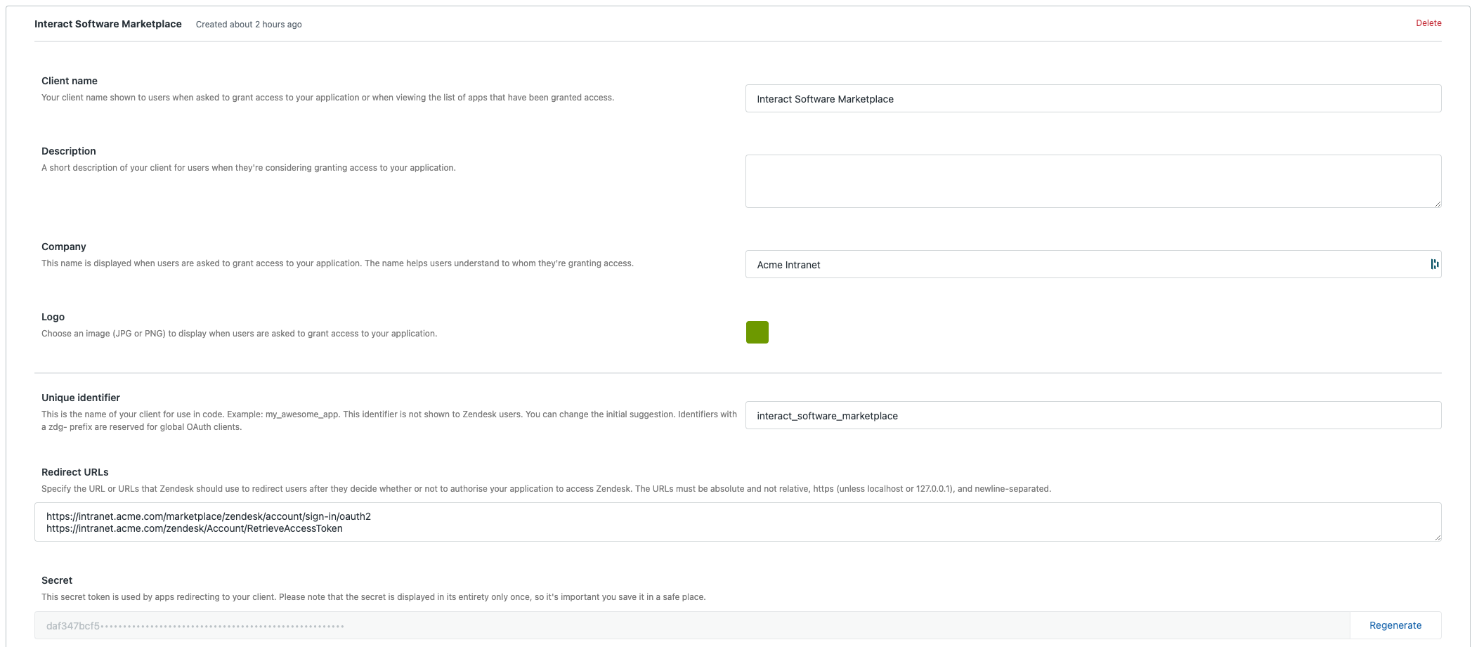Create new OAuth client view