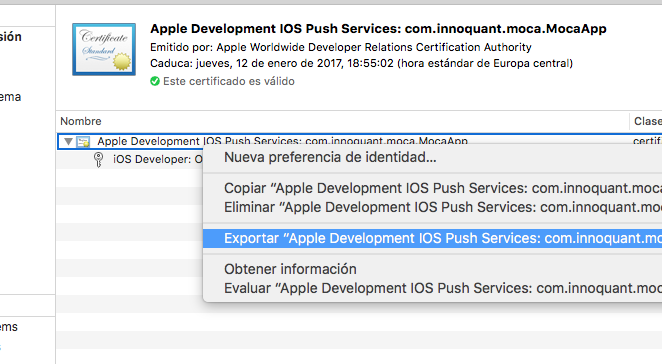 APNS: Certificates for push notifications · MOCA Developer