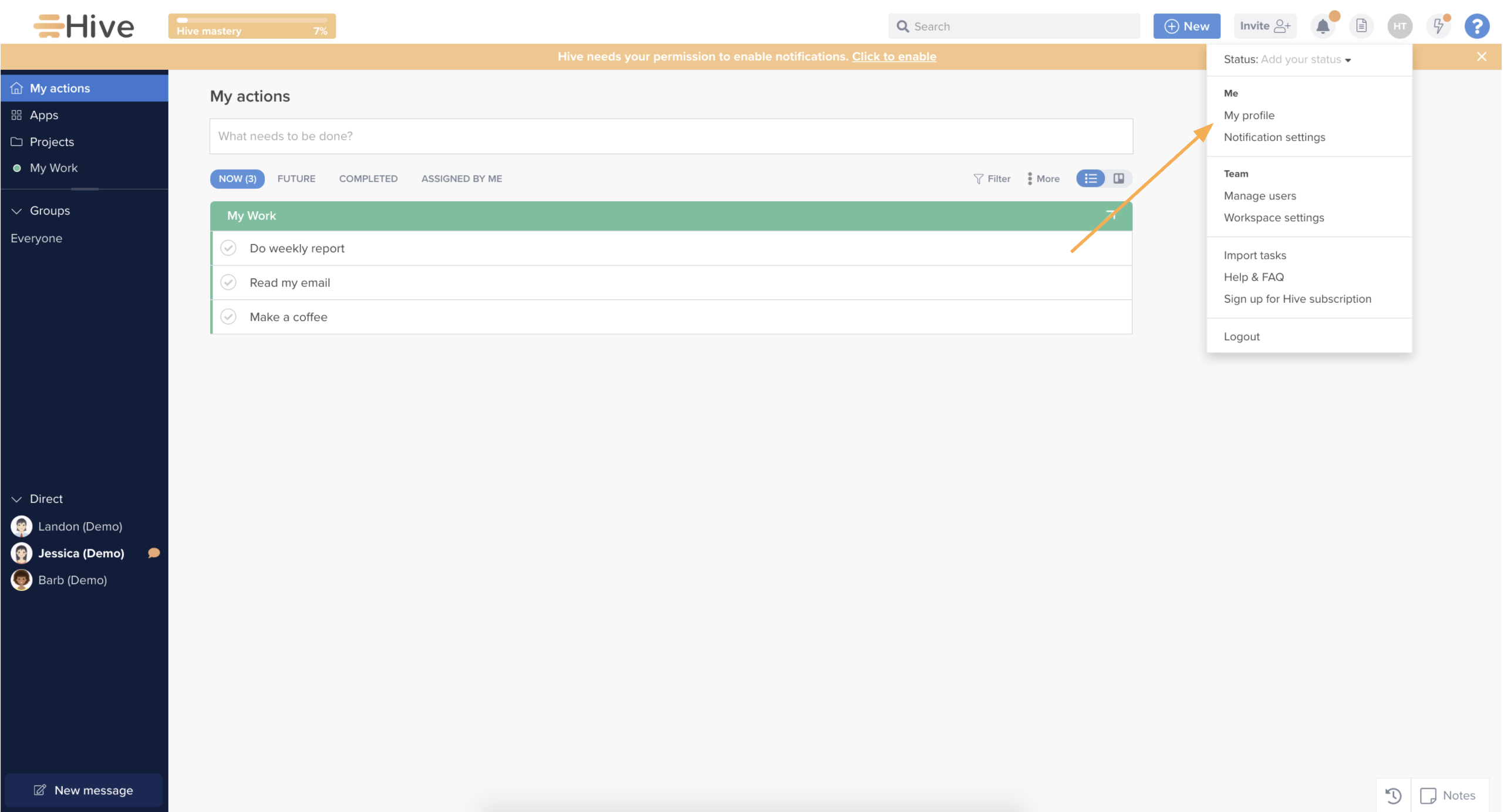 Location of the API information menu