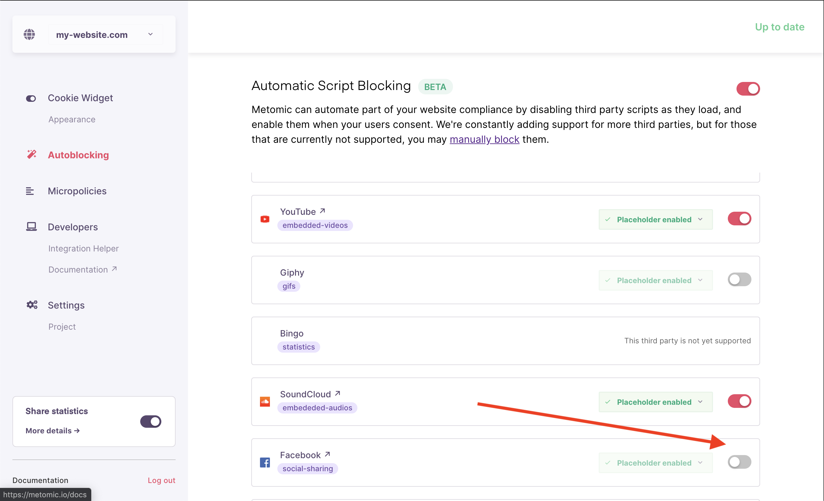 Step 3: Ensure that the autoblocking setting for that specific third party is enabled.