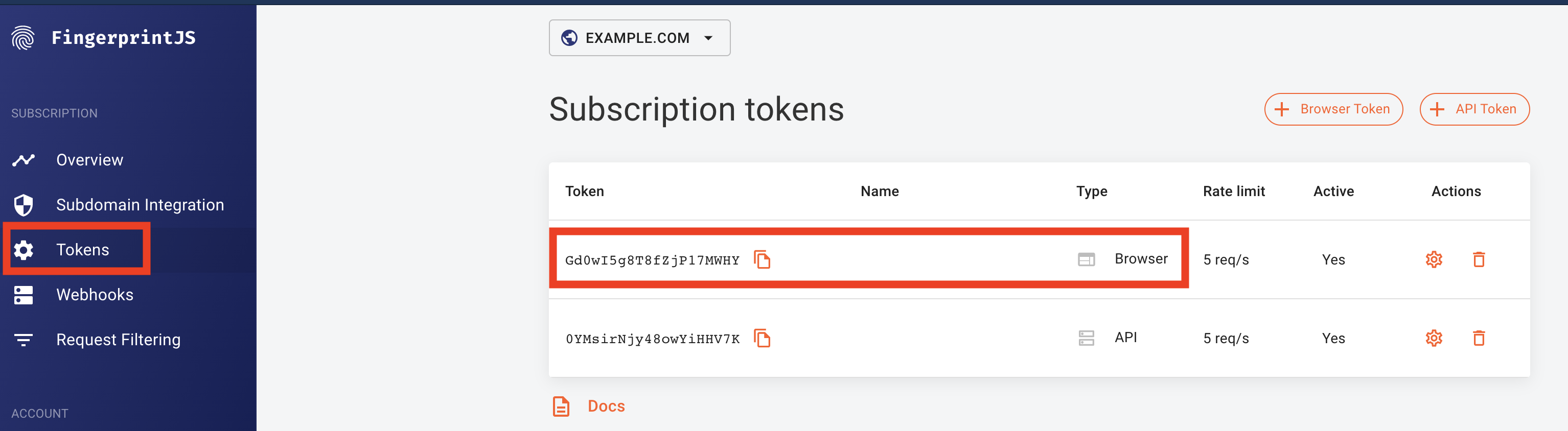 Screenshot of where to find your browser token