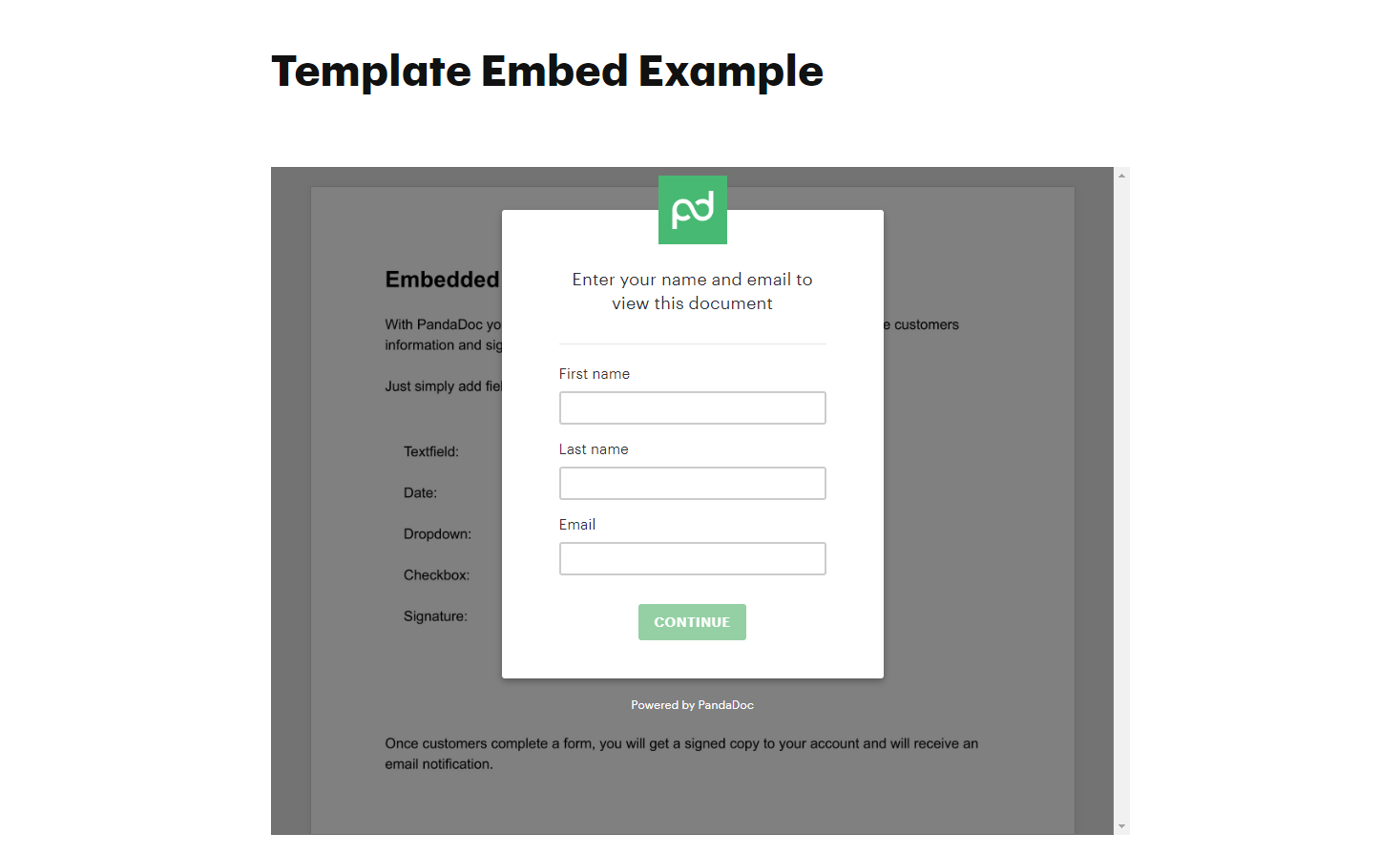 PandaDoc Template Embed View