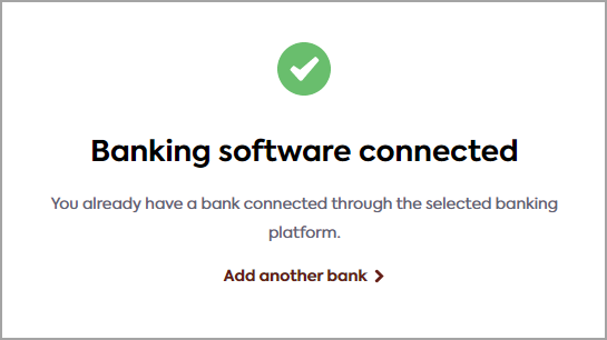 Link user interface: banking platform connected