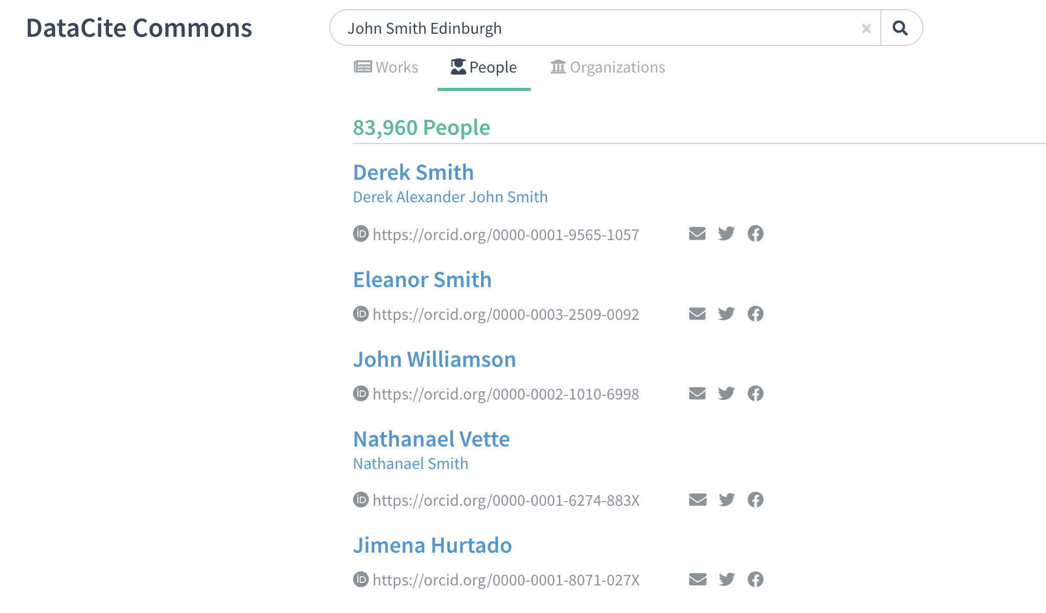 Search for people by name and keyword. https://commons.datacite.org/orcid.org?query=John%20Smith%20Edinburgh
