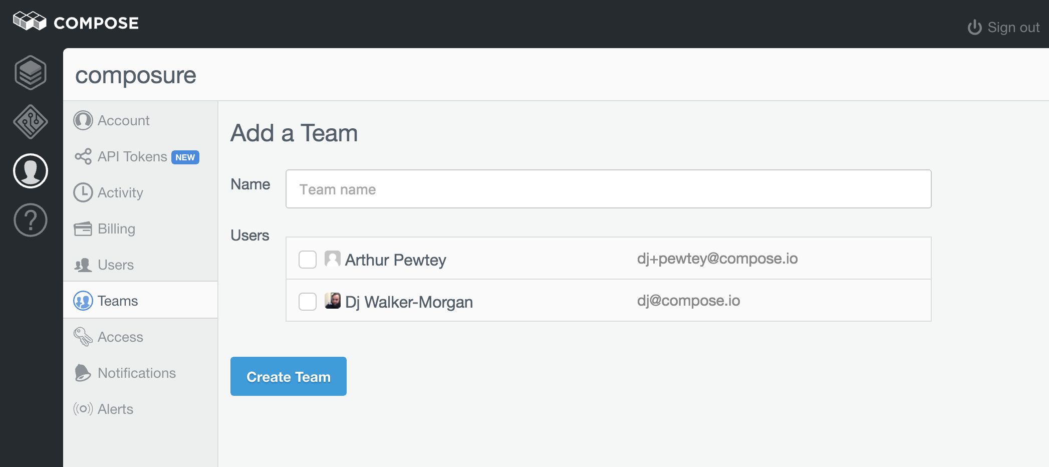 Example Add Team page