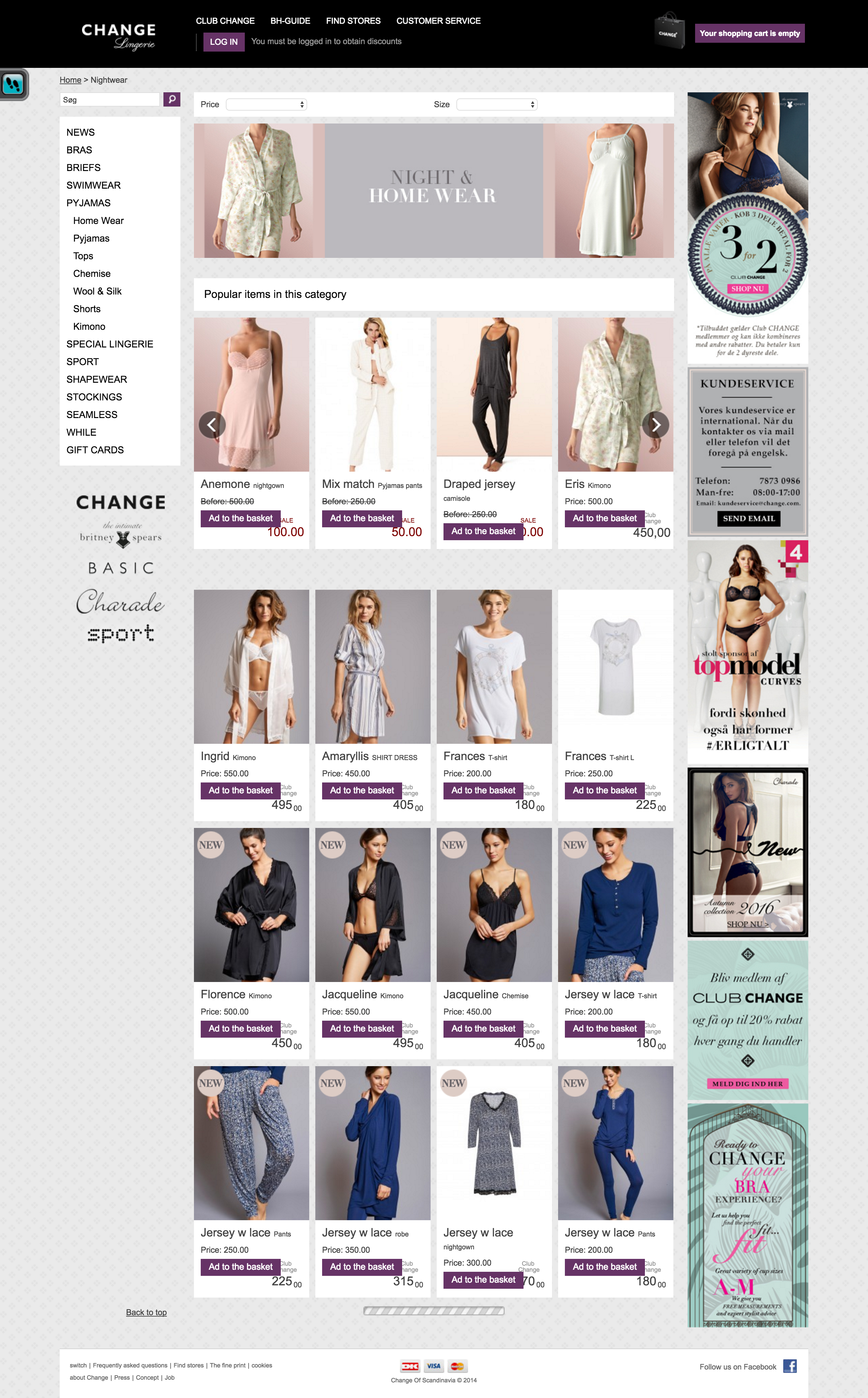 Change.com category page with recommendations for the most popular products displayed at the very top.