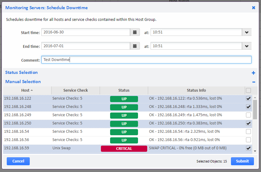 Example of Host Group Schedule Downtime Status Selection