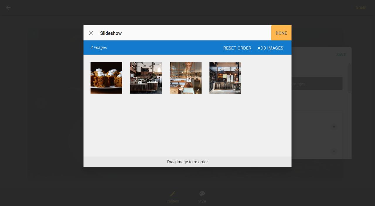 Reorder images for slideshow