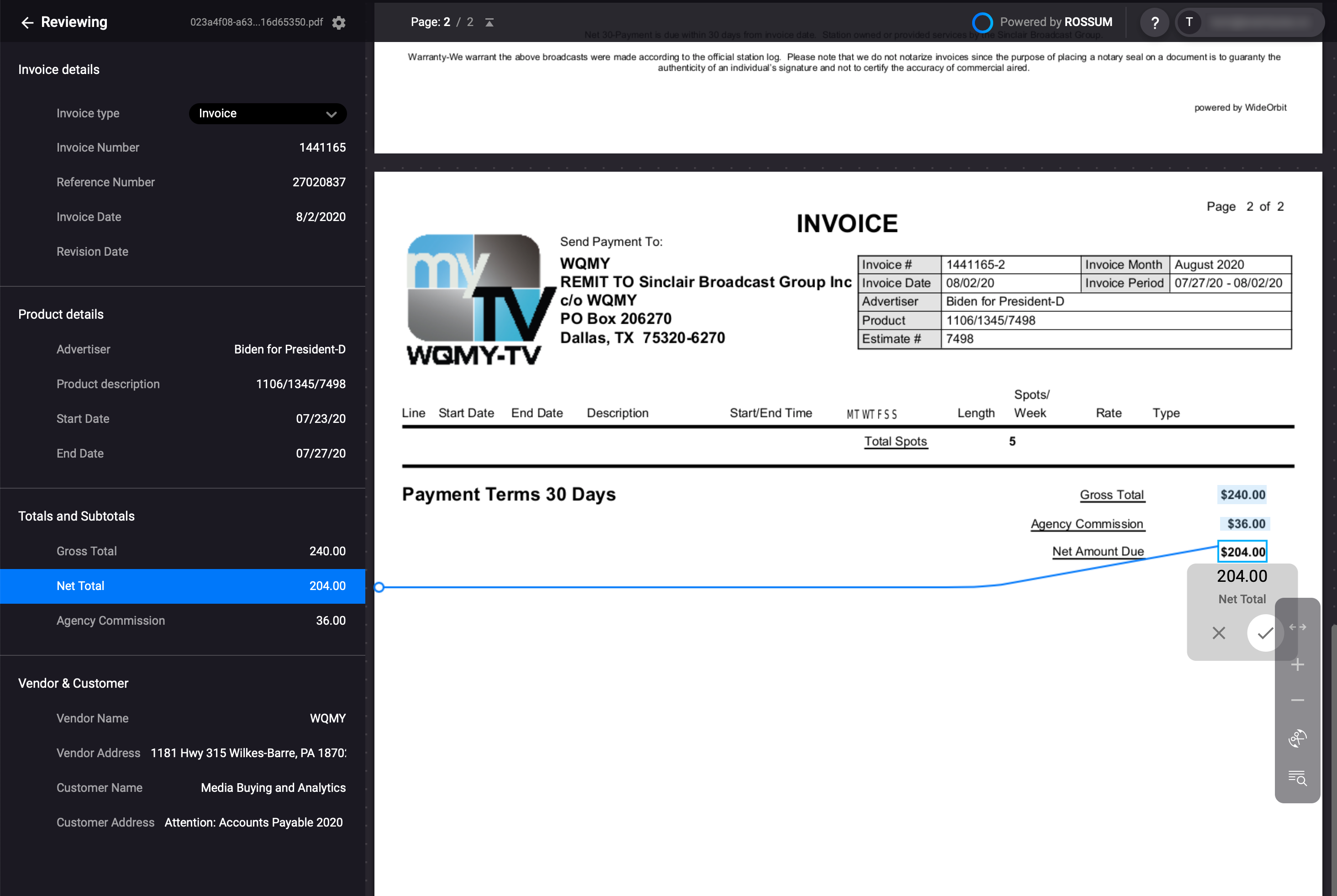 Rossum.ai user interface with a selected invoice net amount