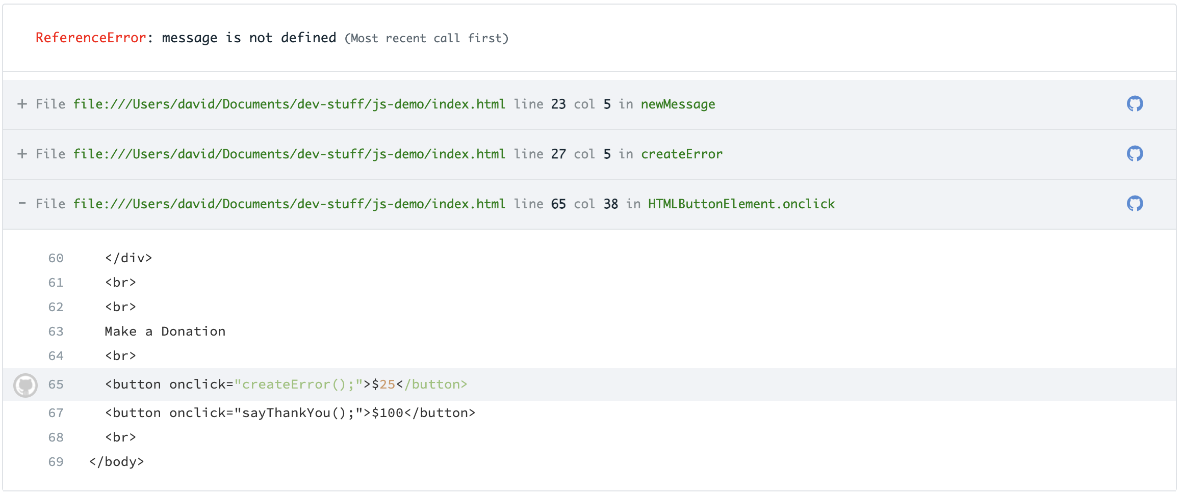 A javascript stacktrace with Github integration shows code context in  each frame.