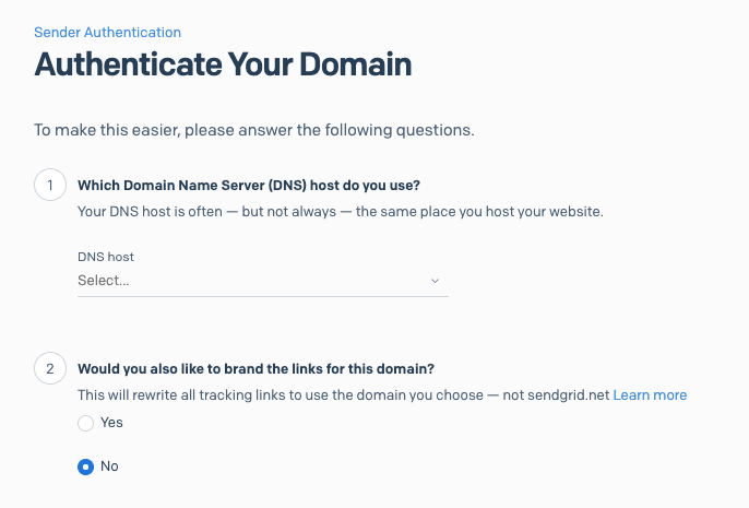 Selecting DNS host for your domain