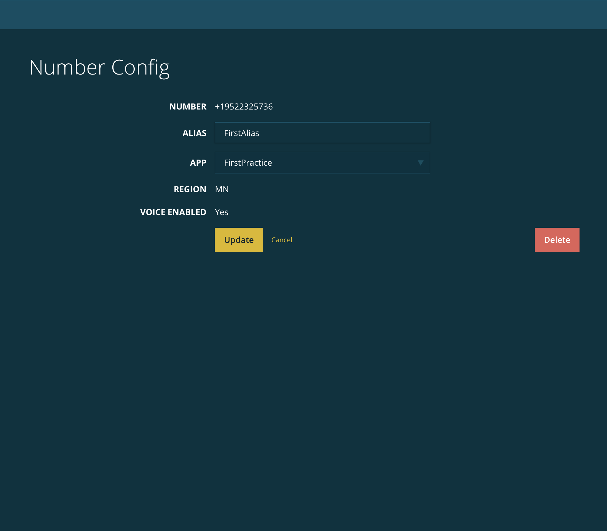 The Number Config page for a number.