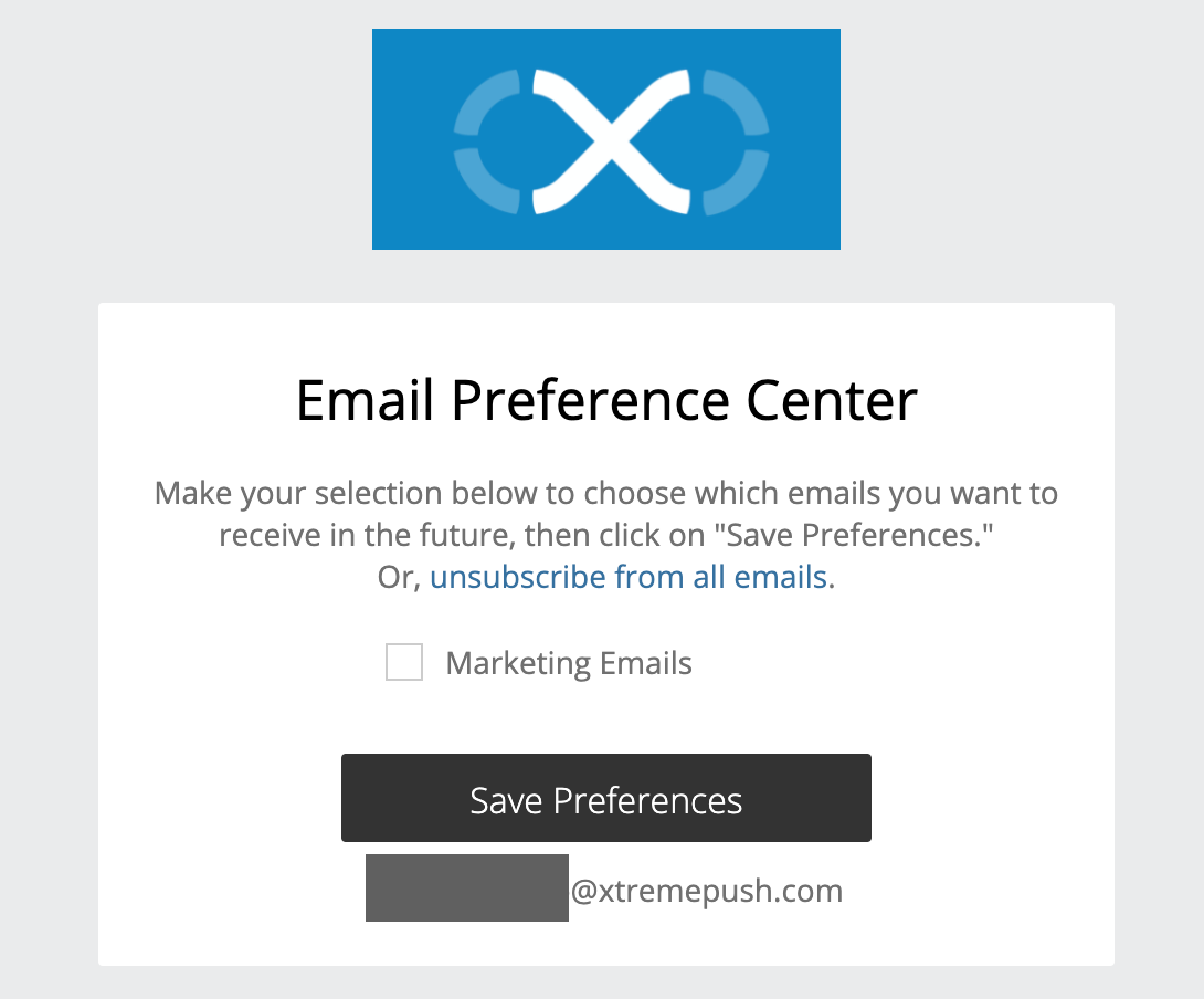 Email preference center that is accessed by the special syntax {{system.url.profile}}.