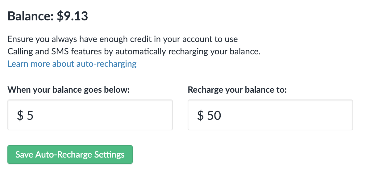 Adjust your Auto-Recharge Settings to automatically top off your Usage credit balance.