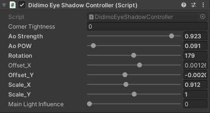 The 'Eye Shadow Controller' gives you fine control over the appearance of ambient occlusion on the eye.