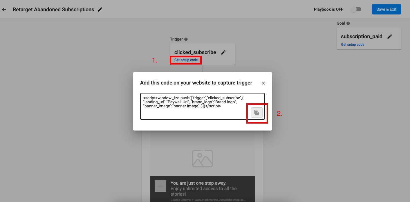 How to view and copy the Trigger code.