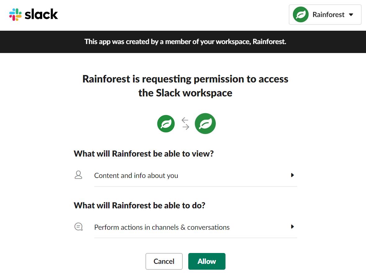 Setting up Slack permissions.