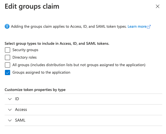 Editing the groups claim
