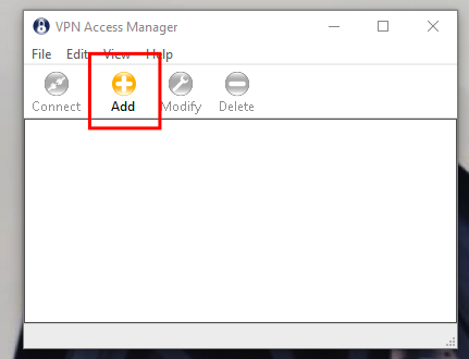 Click Add in the VPN Access Manager.