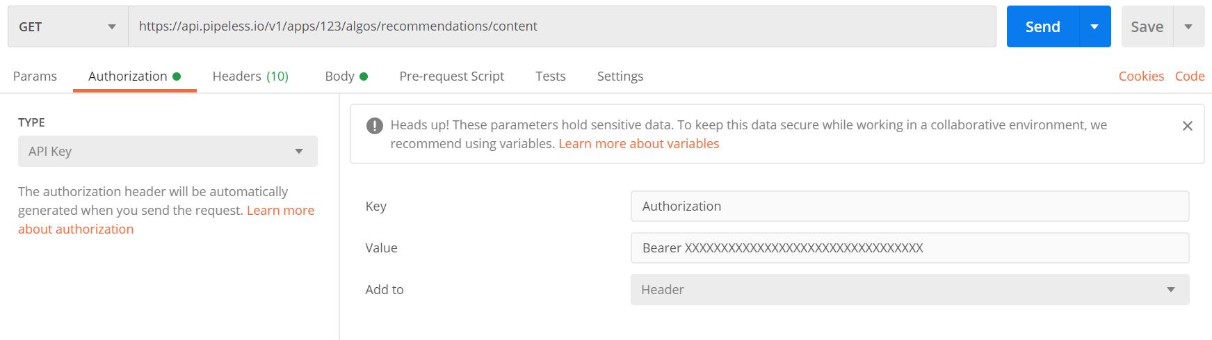 Postman authorization page to enter API Key