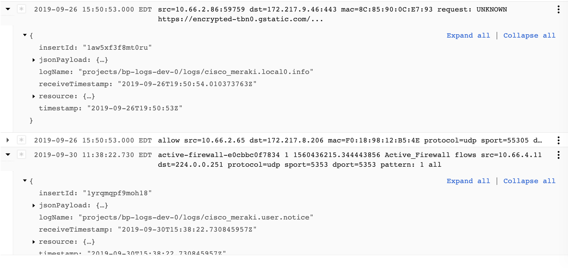Cisco Meraki logs example