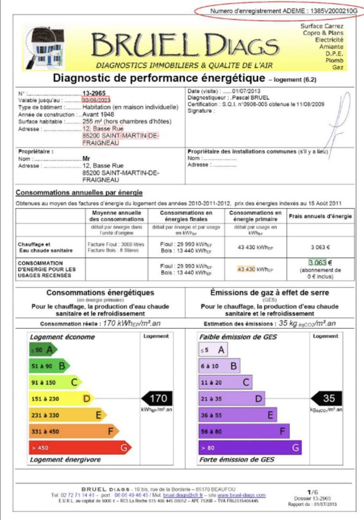 Energy performance diagnostic key data extraction