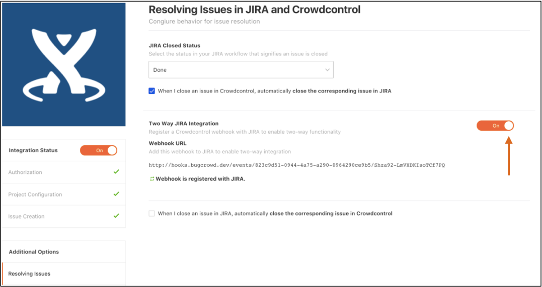 Toggling on the Two Way JIRA Integration