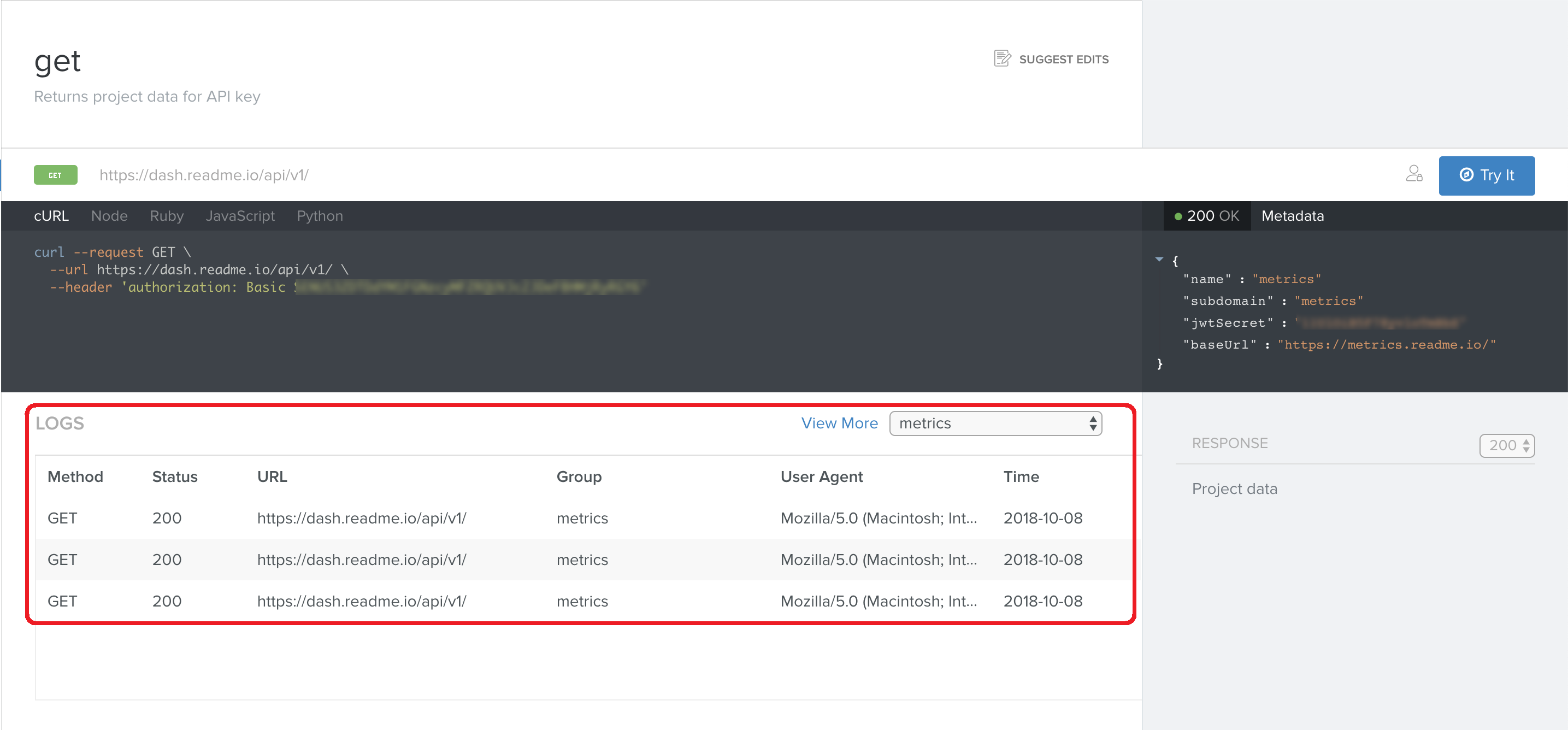 Your users can view their logs directly in the API Explorer.