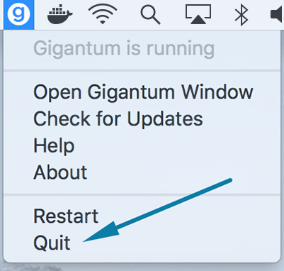 Click 'Quit' button to close Gigantum Desktop and all Gigantum managed Docker containers