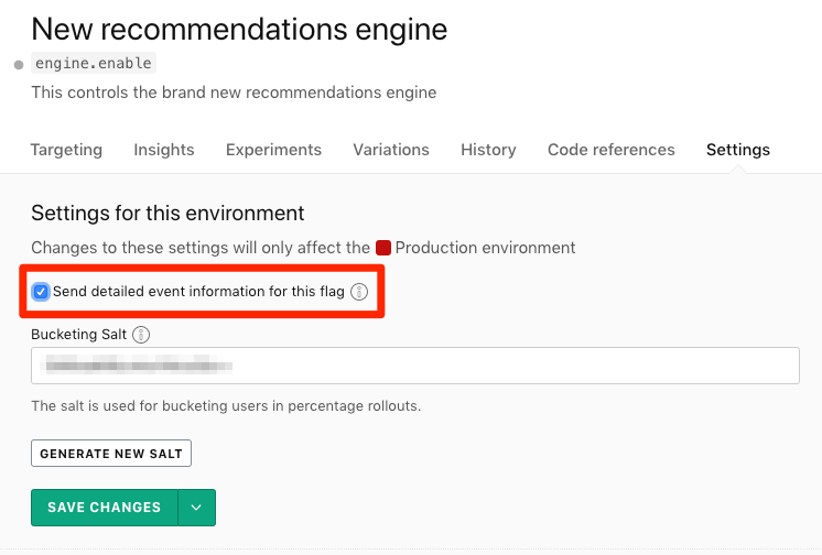 The flag's Settings page, with the data export checkbox called out.