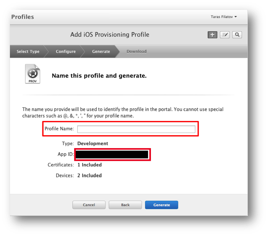 Entering the provisioning profile name