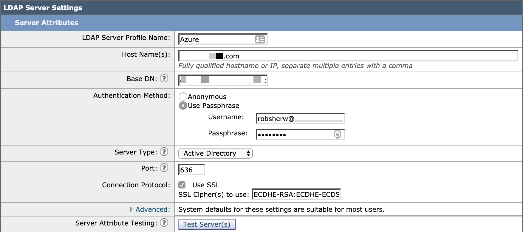 Your LDAP Server Settings (Server Profile) should look similar to shown here.