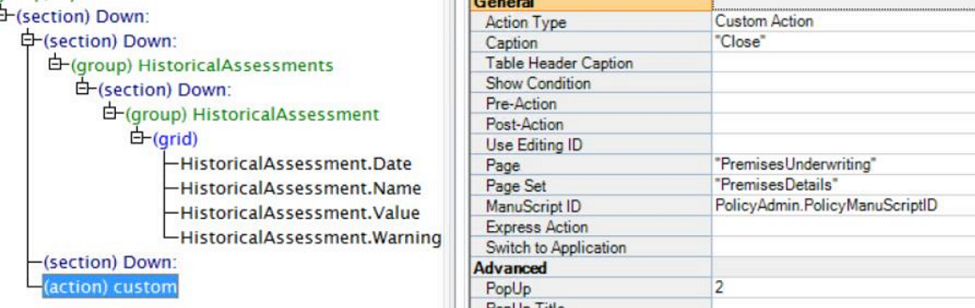 Set the Page, Page Set and ManuScript ID to return to after the assessment
