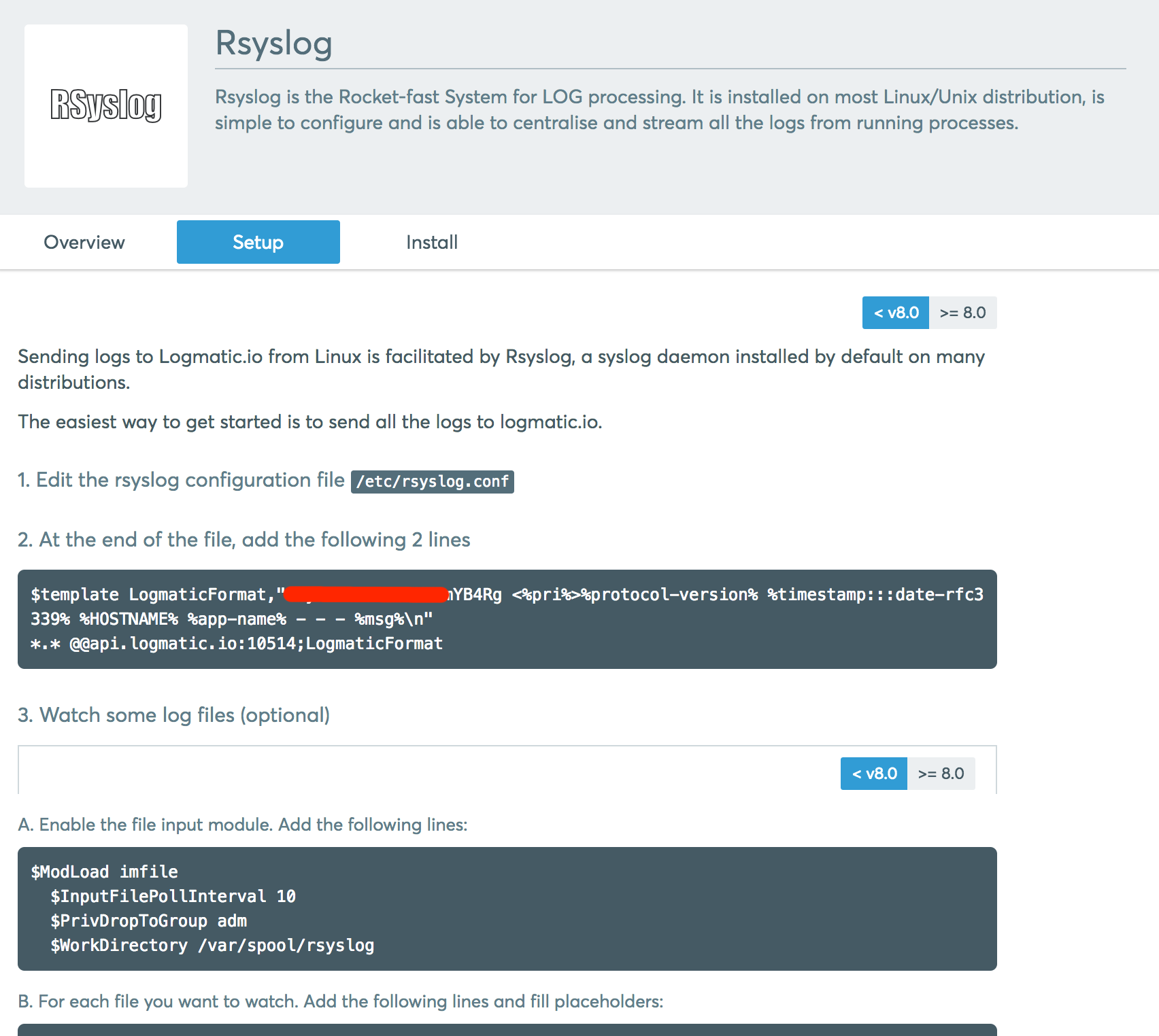 The Rsyslog setup page