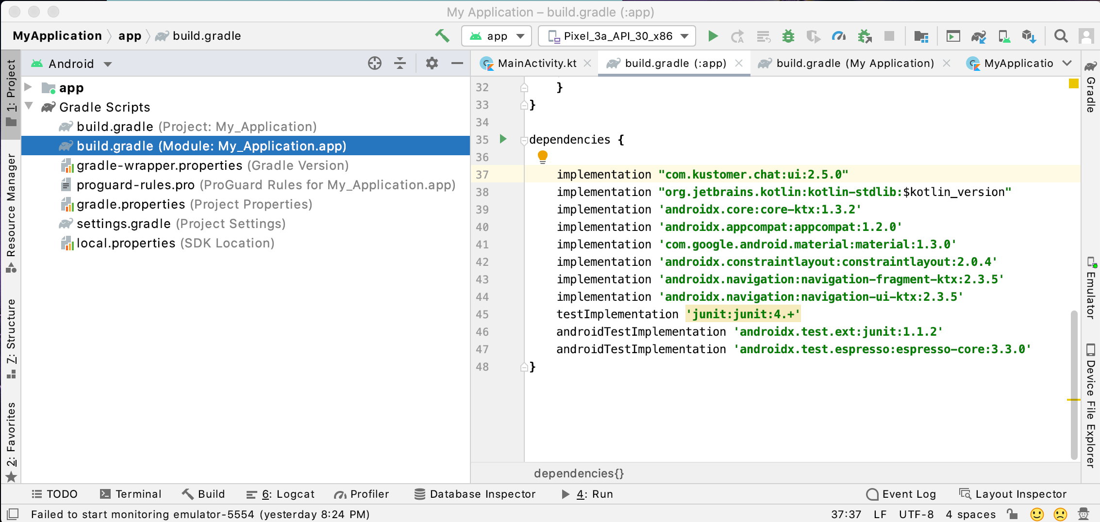 Add the latest Kustomer Chat SDK version to your App-level Gradle file.