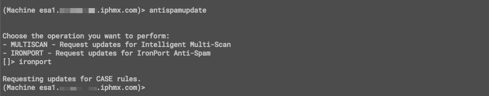 CLI example using 'antispamupdate'
