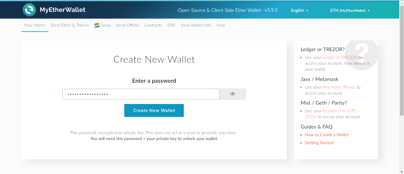 *Figure 3.8. Creating a payout address with MyEtherWallet.*