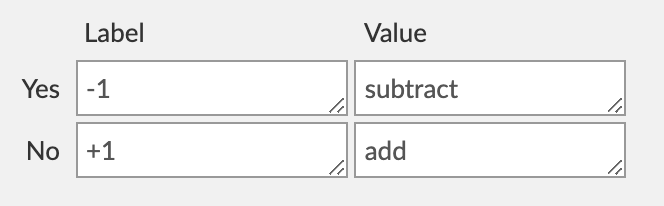 Tally example Yes/No field settings