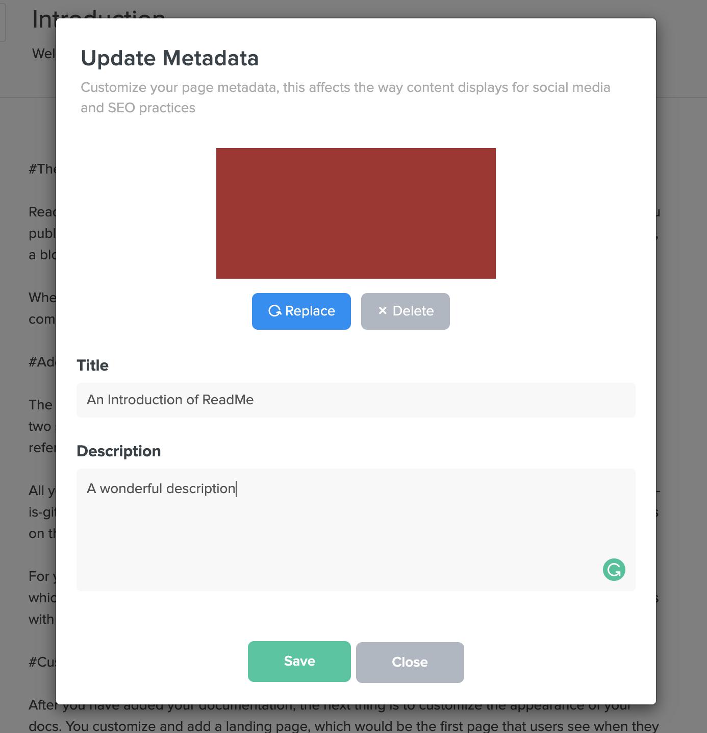 Update Metadata Modal