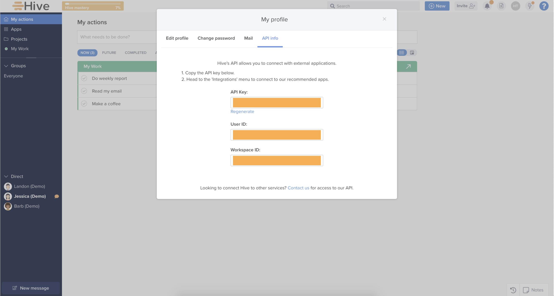 API information tab
