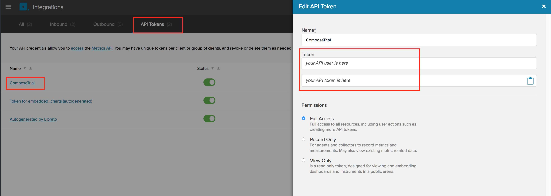API user and token in Librato.