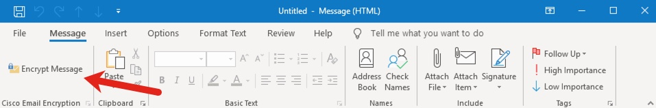 """Example of """"Encrypt Message"""" in Outlook toolbar"""