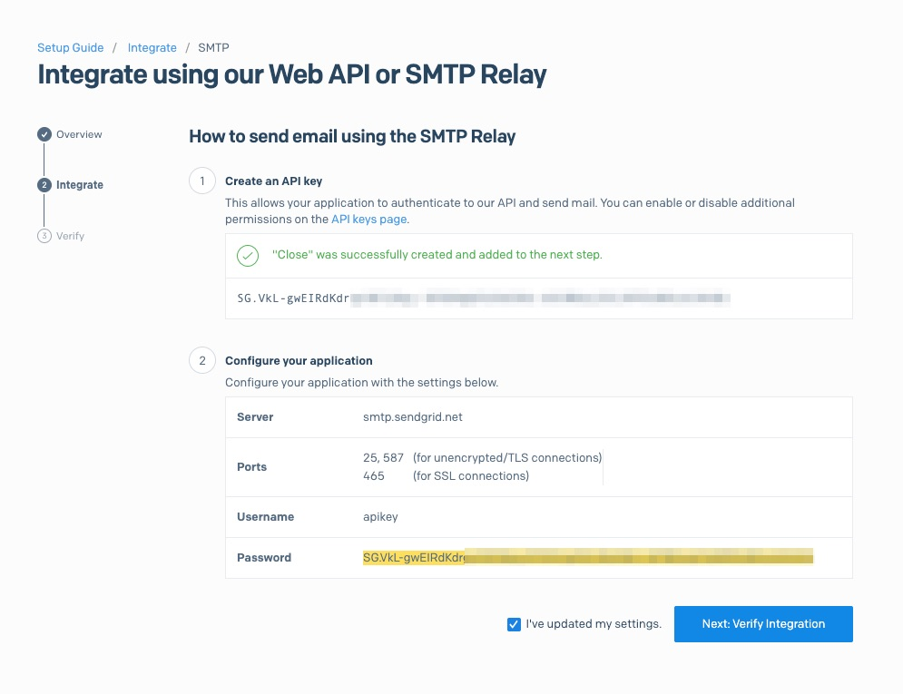 SMTP relay with generated API key