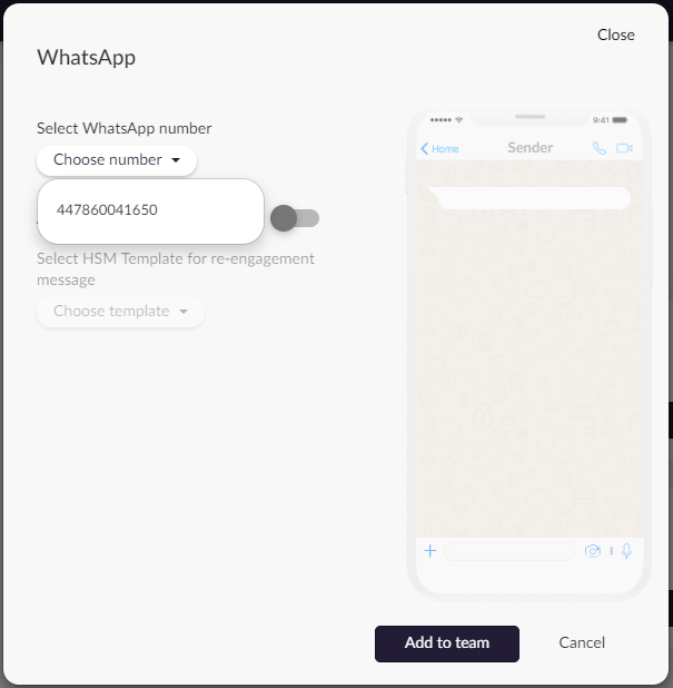 Assigning a WhatsApp number to a team