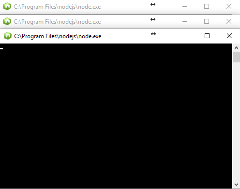 *Figure 3.19. Three NodeJS windows are open, indicating that all three nodes are running.*