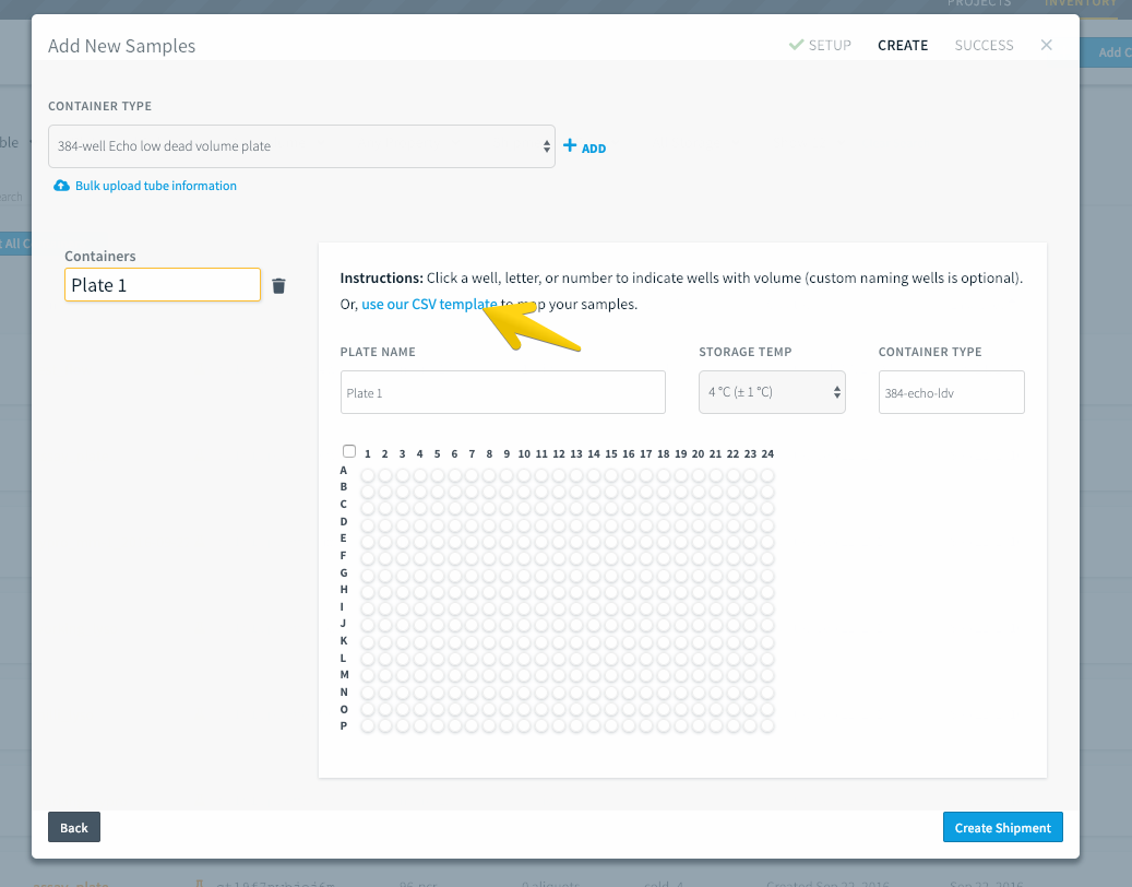 Click the blue link to download the .csv template for bulk uploads and view the upload screen.